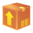 Orange package box crate upload arrow
