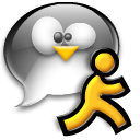 Tux chat penguin user running man