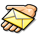 Hand beos email message share