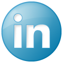Linkedin button social blue