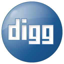 Digg button social blue