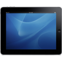 Ipad tablet computer landscape blue hardware background