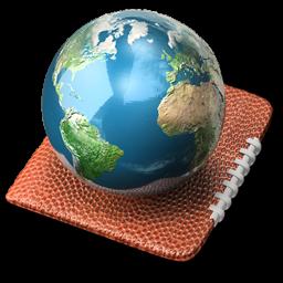Globe Earth World Internet Network Footballseasons Touchdown 3d 128px Icon Gallery