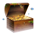 Gold coins chest treasure