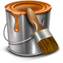 Bucket paint brown brush