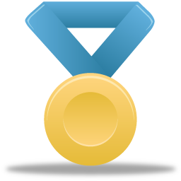 Award metal gold blue medal