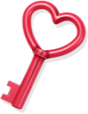 Love key heart red