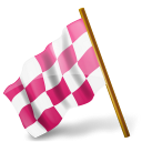 Media icons socia map pink chequered flag marker left derelict base