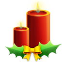 Candles with ribbon christmas