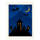 Stamp haunted house halloween