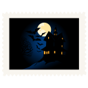 Stamp scary night halloween