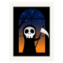 Stamp skeleton halloween