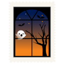 Stamp spooky window halloween