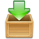 Load download wooden box green arrow