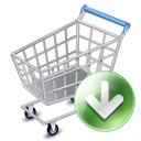 Webshop ecommerce shopping cart down arrow