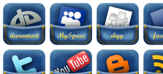 Jeans pocket social media icons